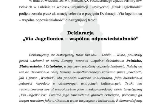 """Deklaracja """"Via Jagellonica – wspólna odpowiedzialność"""""""